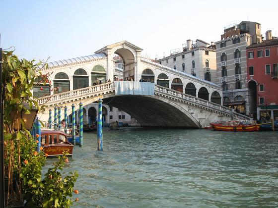 The Rialto. The original had a hold in the middle for sails to pass through. This was stupid; the bridge collapsed.